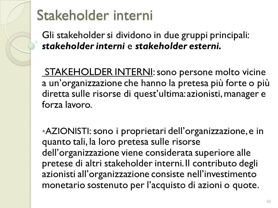 Stakeholder interni Gli stakeholder si dividono in due gruppi principali: stakeholder interni e stakeholder esterni.