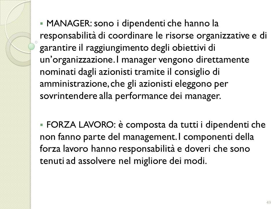 MANAGER: sono i dipendenti che hanno la responsabilità di coordinare le risorse organizzative e di garantire il raggiungimento degli obiettivi di un'organizzazione. I manager vengono direttamente nominati dagli azionisti tramite il consiglio di amministrazione, che gli azionisti eleggono per sovrintendere alla performance dei manager.
