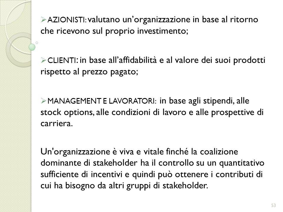 AZIONISTI: valutano un'organizzazione in base al ritorno che ricevono sul proprio investimento;