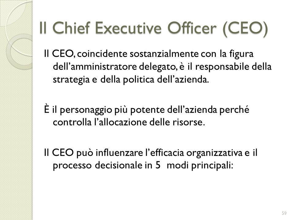Il Chief Executive Officer (CEO)