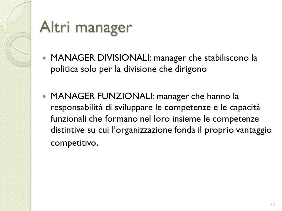 Altri manager MANAGER DIVISIONALI: manager che stabiliscono la politica solo per la divisione che dirigono.