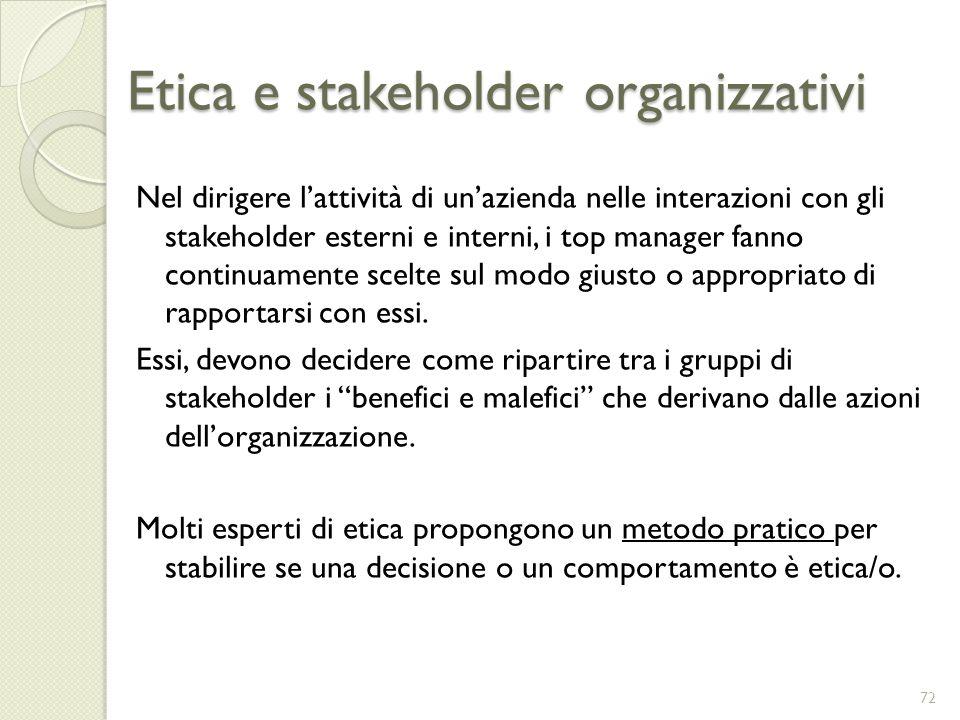 Etica e stakeholder organizzativi