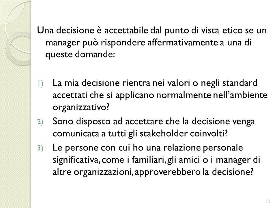 Una decisione è accettabile dal punto di vista etico se un manager può rispondere affermativamente a una di queste domande: