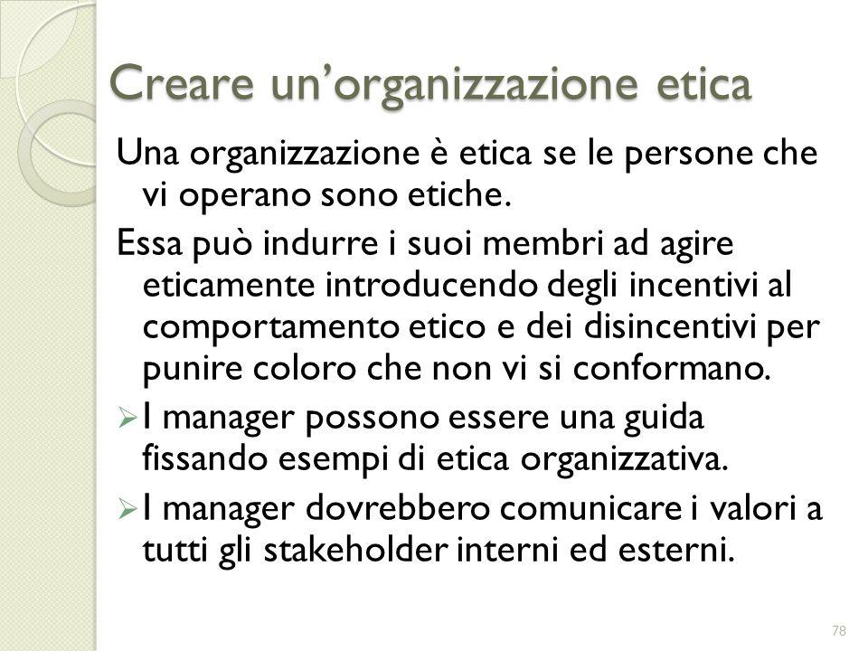 Creare un'organizzazione etica