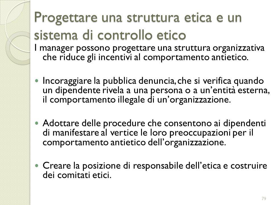 Progettare una struttura etica e un sistema di controllo etico