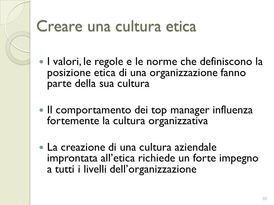 Creare una cultura etica