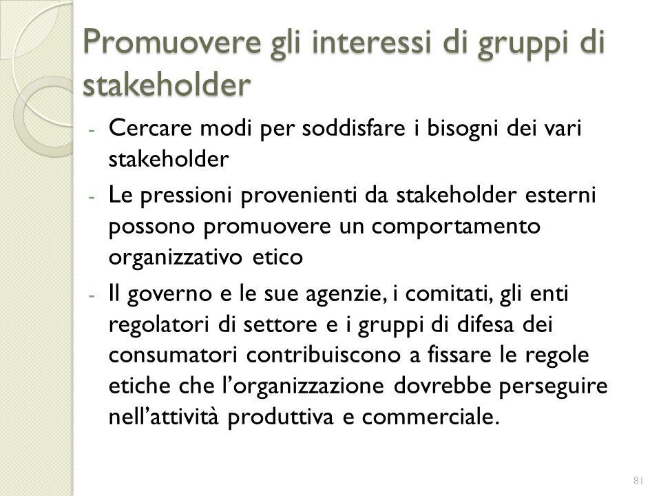 Promuovere gli interessi di gruppi di stakeholder