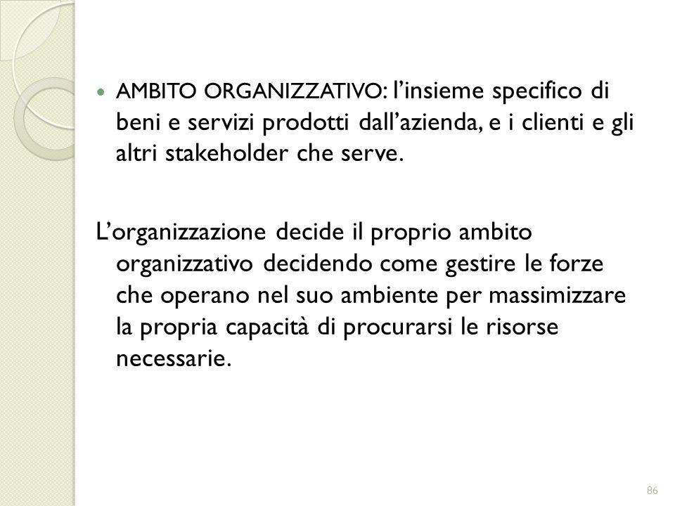 AMBITO ORGANIZZATIVO: l'insieme specifico di beni e servizi prodotti dall'azienda, e i clienti e gli altri stakeholder che serve.