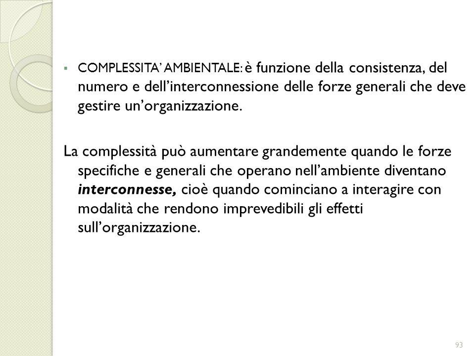 COMPLESSITA' AMBIENTALE: è funzione della consistenza, del numero e dell'interconnessione delle forze generali che deve gestire un'organizzazione.