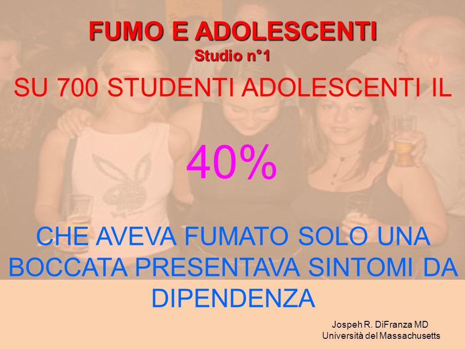40% FUMO E ADOLESCENTI SU 700 STUDENTI ADOLESCENTI IL