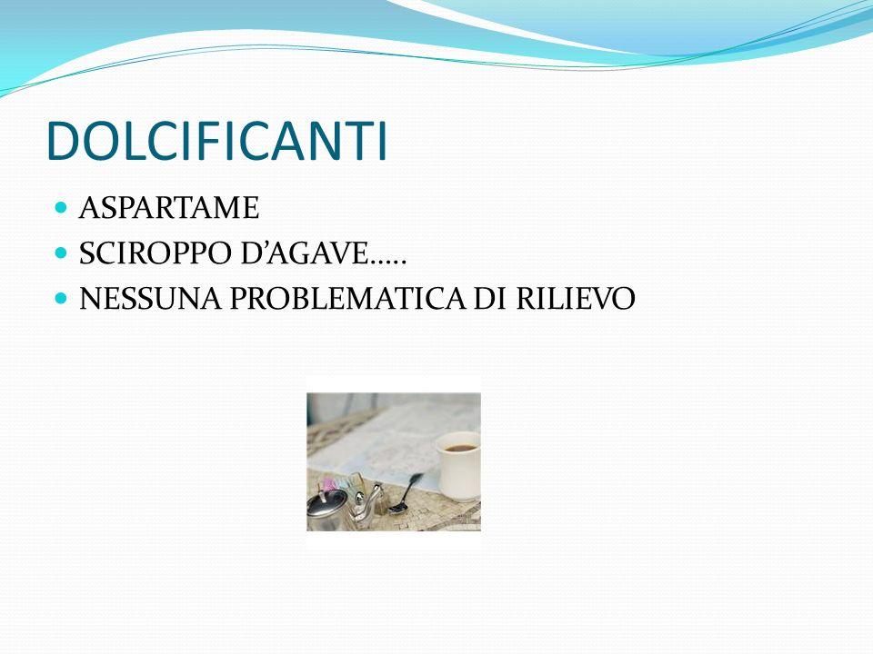 DOLCIFICANTI ASPARTAME SCIROPPO D'AGAVE…..
