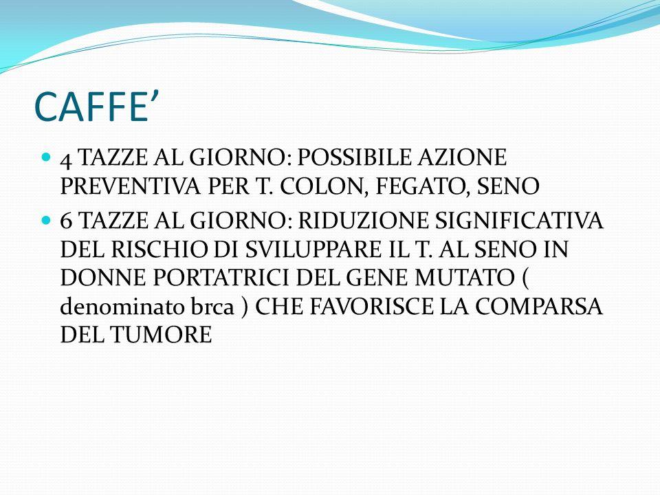 CAFFE' 4 TAZZE AL GIORNO: POSSIBILE AZIONE PREVENTIVA PER T. COLON, FEGATO, SENO.