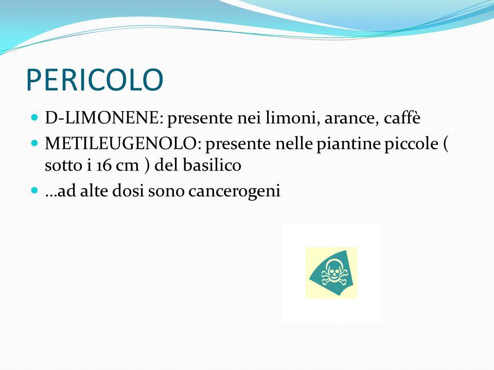 PERICOLO D-LIMONENE: presente nei limoni, arance, caffè