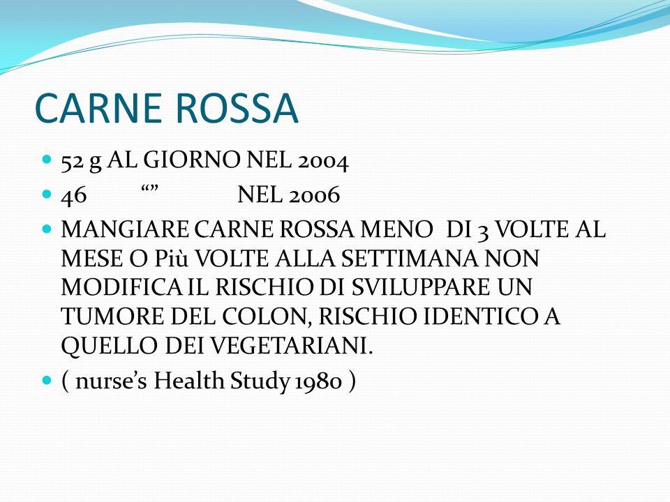 CARNE ROSSA 52 g AL GIORNO NEL 2004 46 NEL 2006
