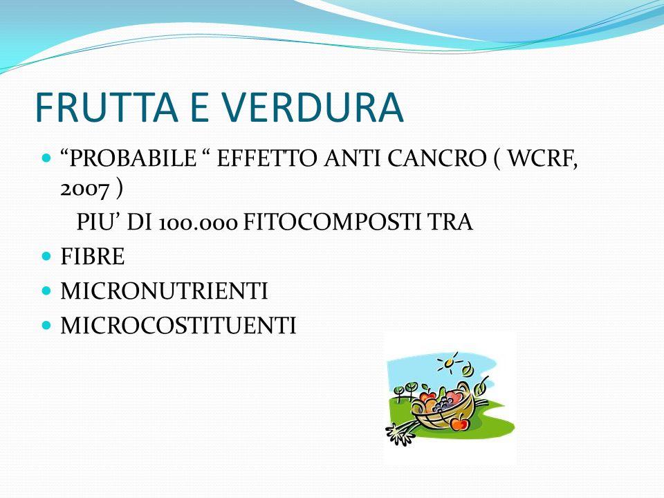 FRUTTA E VERDURA PROBABILE EFFETTO ANTI CANCRO ( WCRF, 2007 )