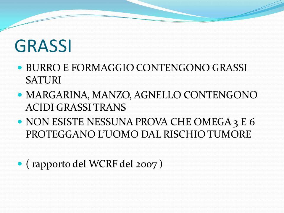 GRASSI BURRO E FORMAGGIO CONTENGONO GRASSI SATURI