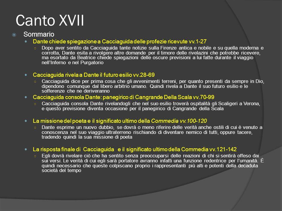 Canto XVII Sommario. Dante chiede spiegazione a Cacciaguida delle profezie ricevute vv.1-27.