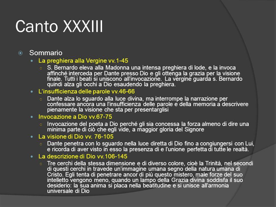 Canto XXXIII Sommario La preghiera alla Vergine vv.1-45