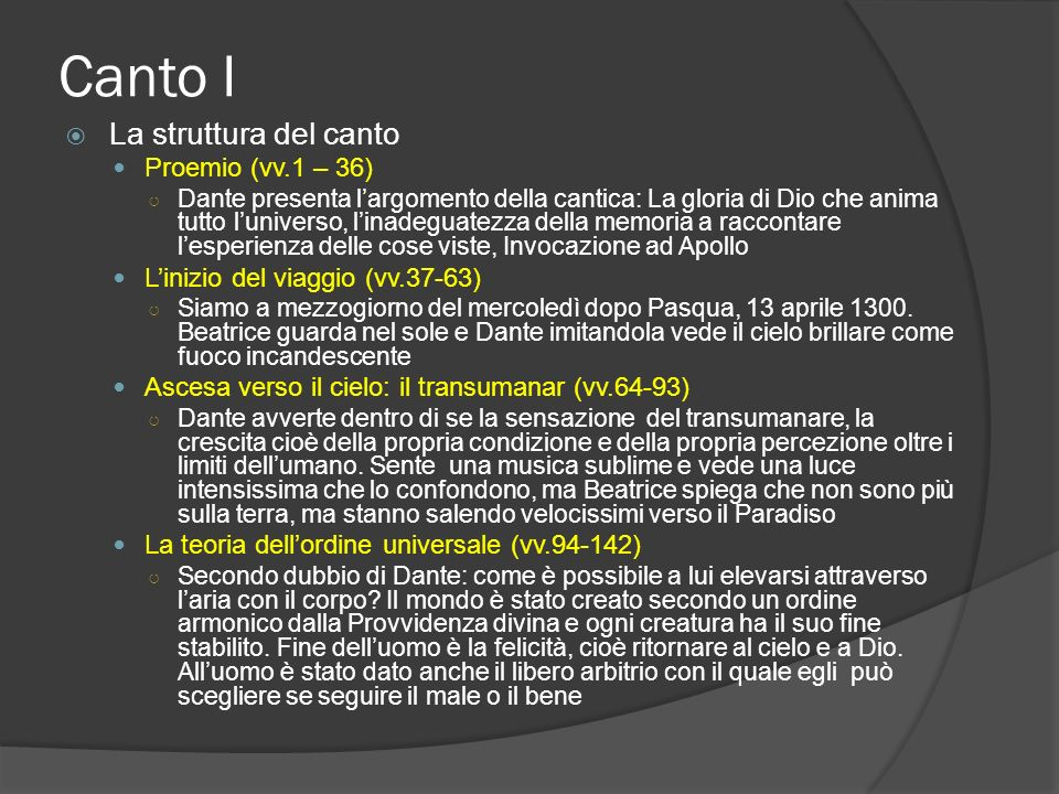 Canto I La struttura del canto Proemio (vv.1 – 36)