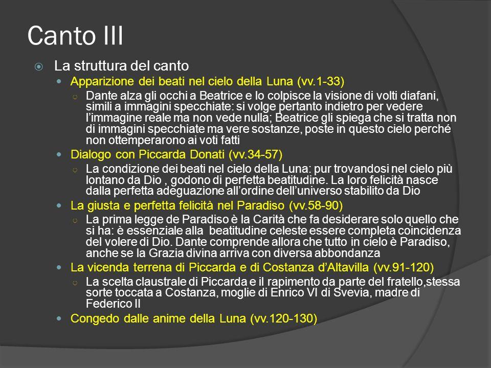 Canto III La struttura del canto