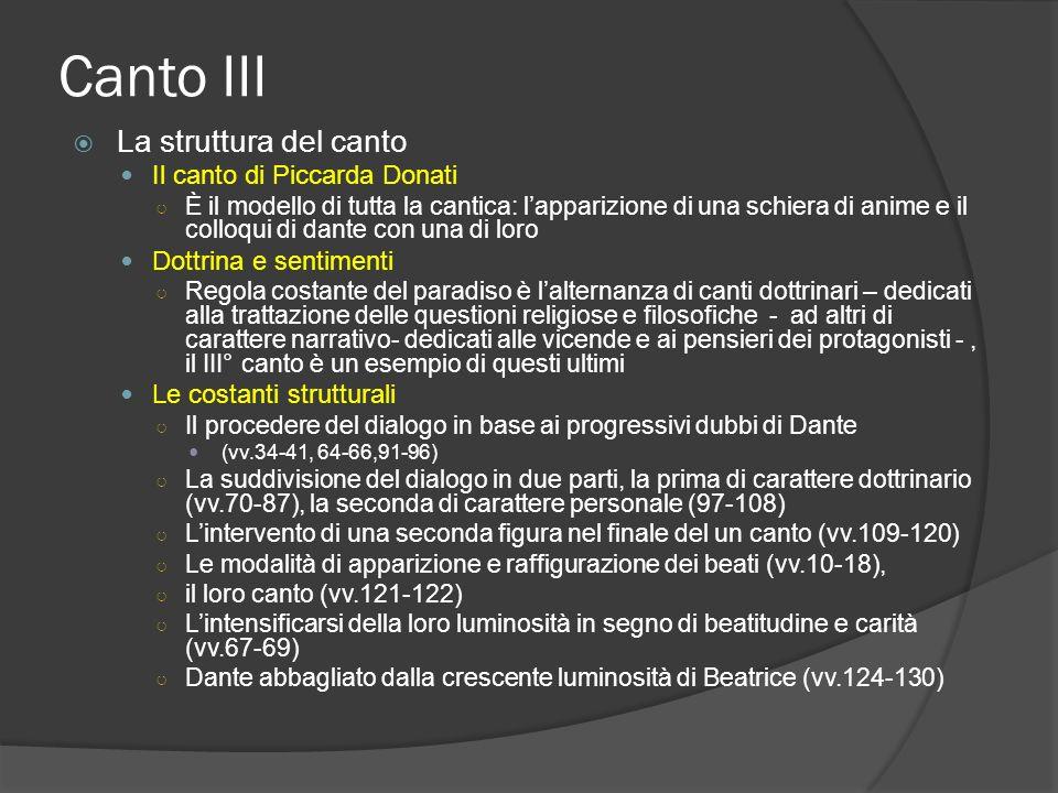 Canto III La struttura del canto Il canto di Piccarda Donati