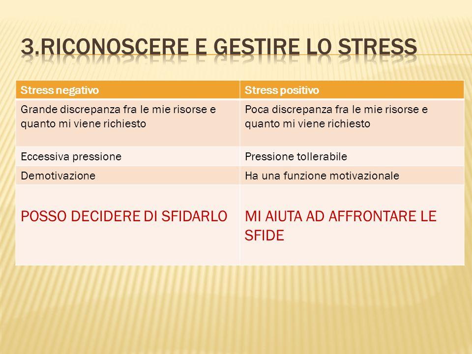 3.Riconoscere e Gestire lo stress