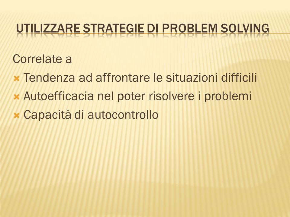 utilizzare strategie di Problem solving