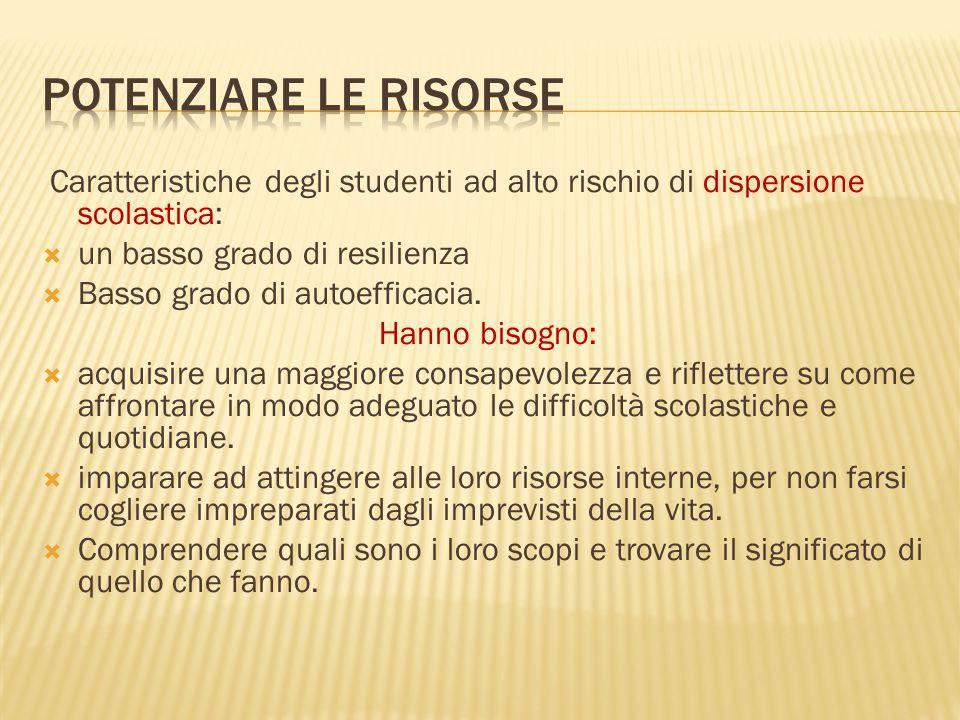 Potenziare le risorse Caratteristiche degli studenti ad alto rischio di dispersione scolastica: un basso grado di resilienza.