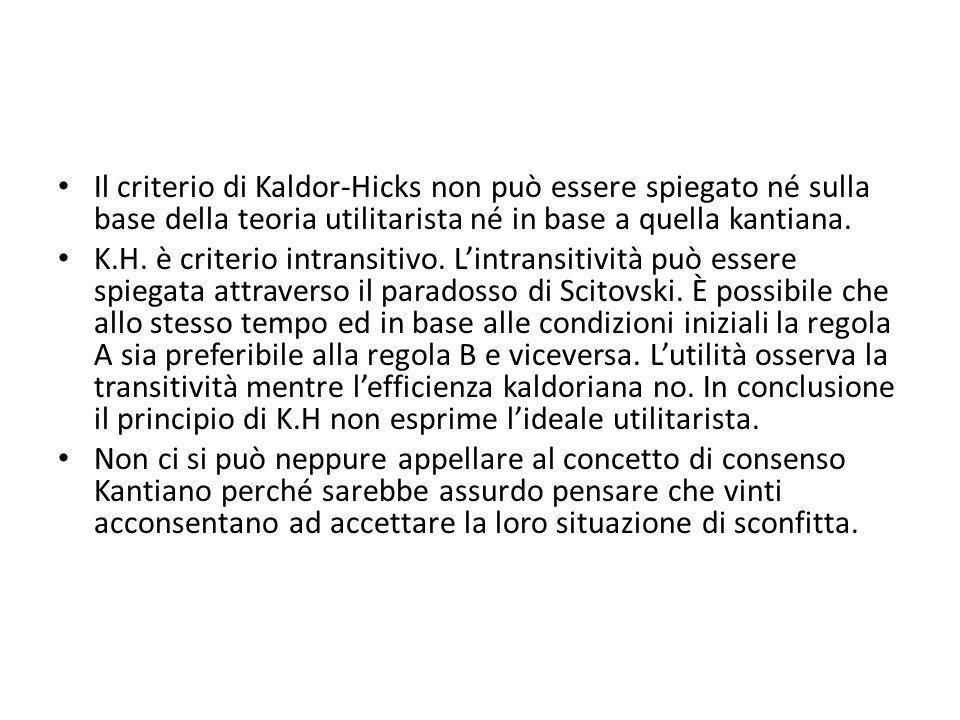 Il criterio di Kaldor-Hicks non può essere spiegato né sulla base della teoria utilitarista né in base a quella kantiana.