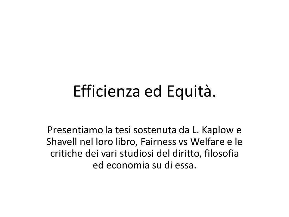 Efficienza ed Equità.