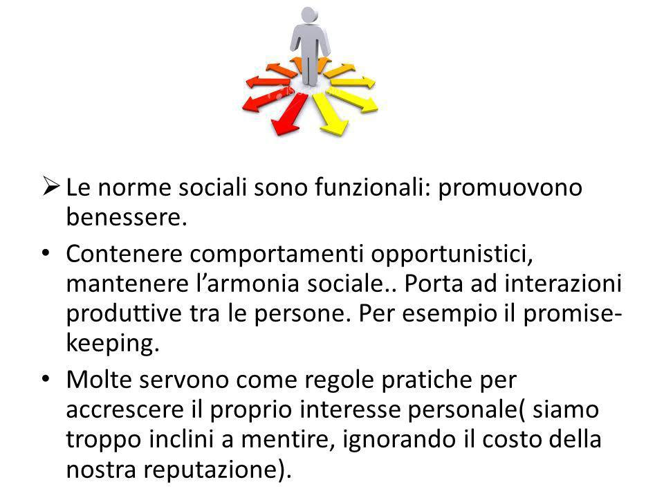 Le norme sociali sono funzionali: promuovono benessere.