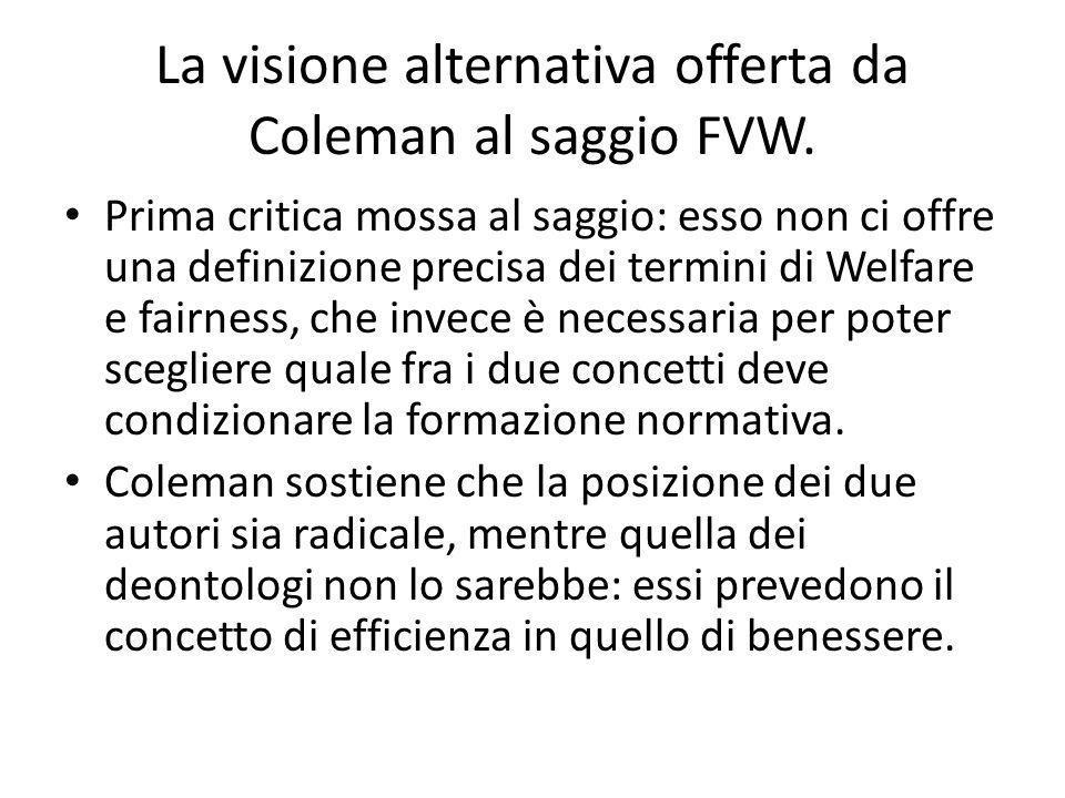La visione alternativa offerta da Coleman al saggio FVW.