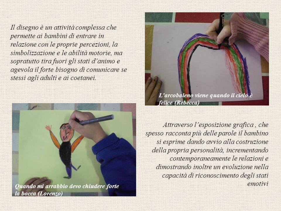 Il disegno è un attività complessa che permette ai bambini di entrare in relazione con le proprie percezioni, la simbolizzazione e le abilità motorie, ma sopratutto tira fuori gli stati d'animo e agevola il forte bisogno di comunicare se stessi agli adulti e ai coetanei.