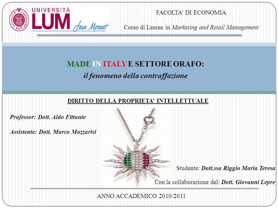 MADE IN ITALY E SETTORE ORAFO: il fenomeno della contraffazione