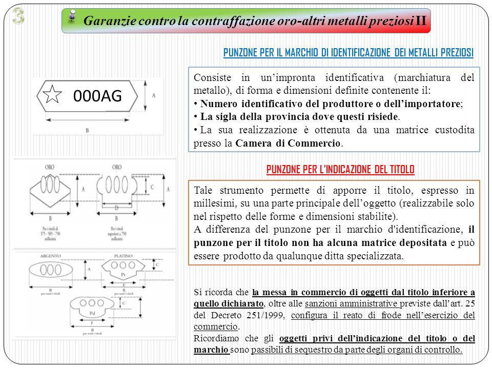 3 Garanzie contro la contraffazione oro-altri metalli preziosi II. PUNZONE PER IL MARCHIO DI IDENTIFICAZIONE DEI METALLI PREZIOSI.