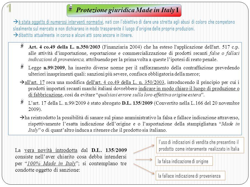 Protezione giuridica Made in Italy I