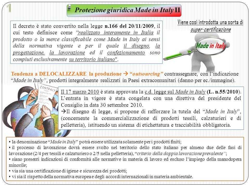 Protezione giuridica Made in Italy II