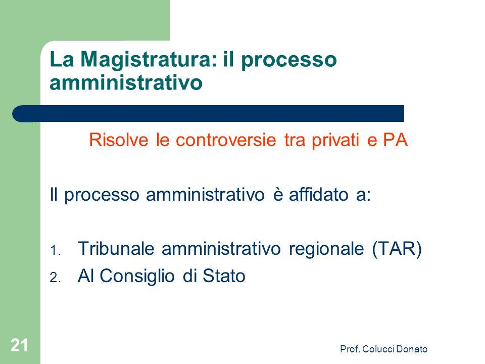 La Magistratura: il processo amministrativo