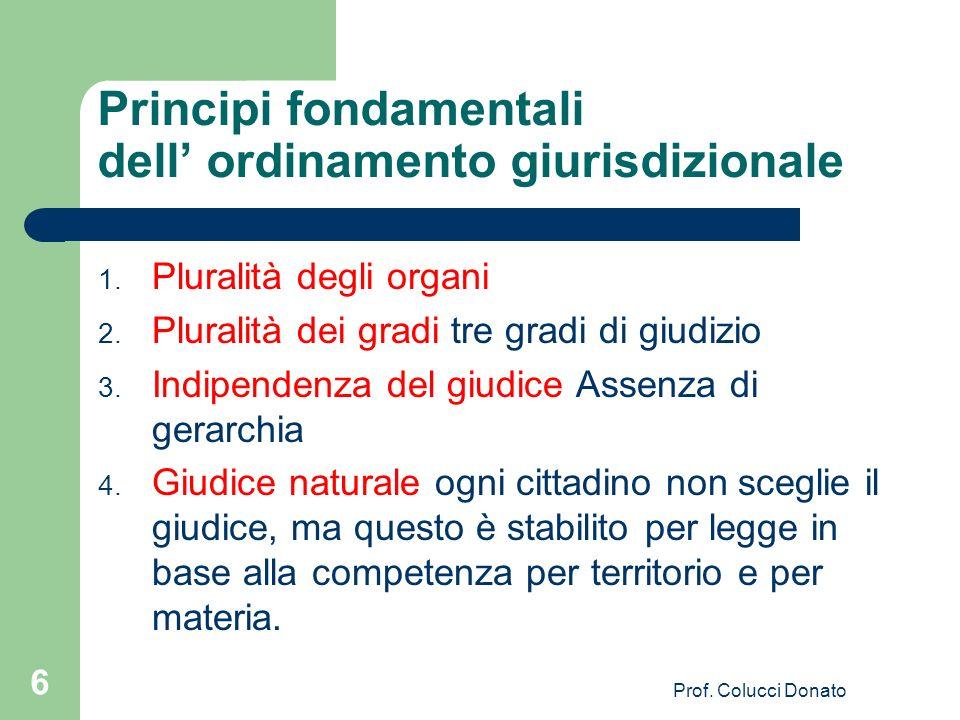 Principi fondamentali dell' ordinamento giurisdizionale