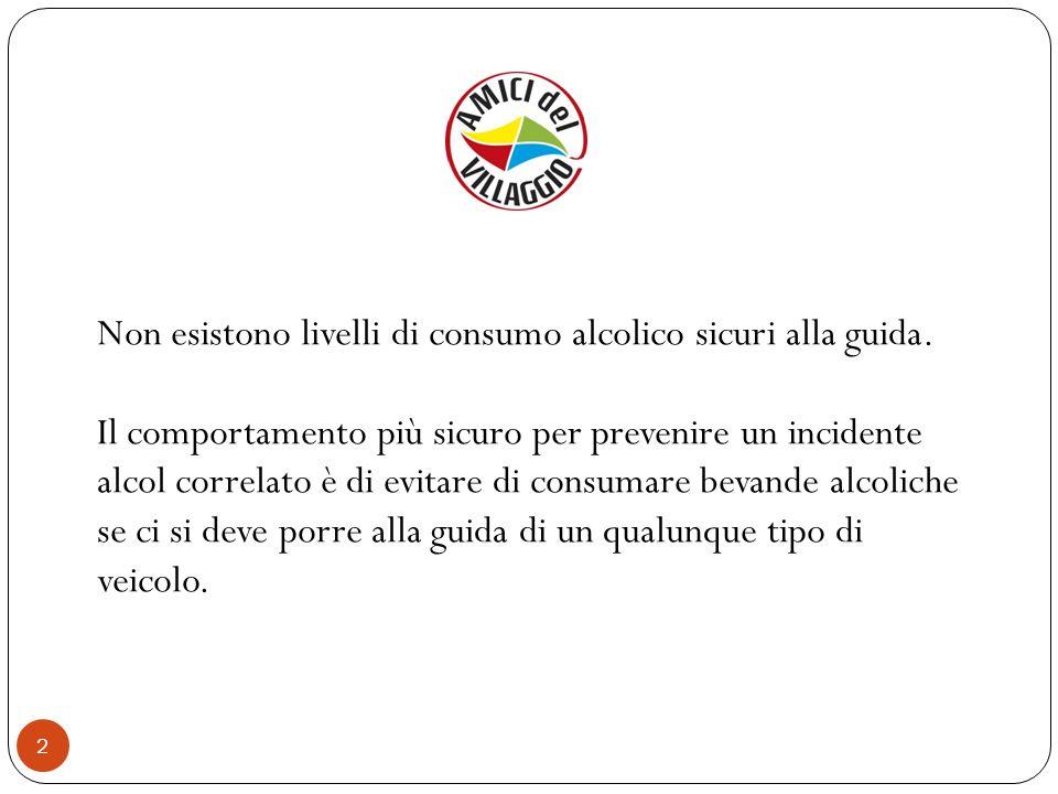 Non esistono livelli di consumo alcolico sicuri alla guida.