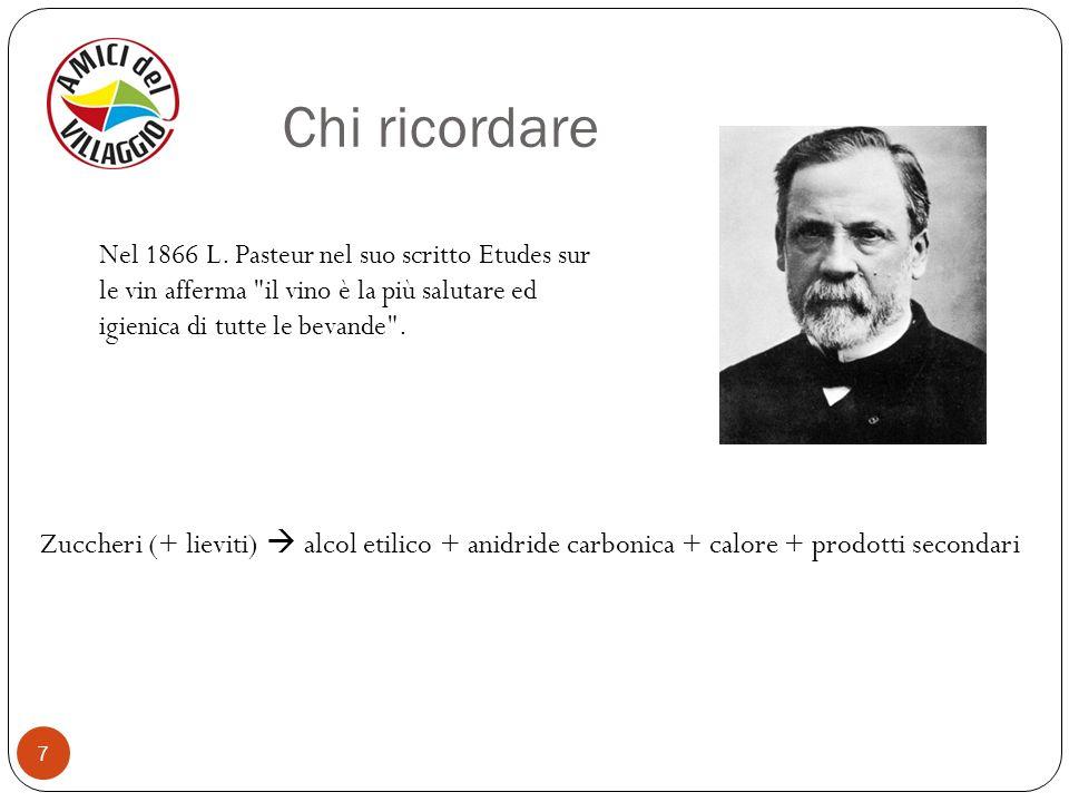 Chi ricordare Nel 1866 L. Pasteur nel suo scritto Etudes sur le vin afferma il vino è la più salutare ed igienica di tutte le bevande .