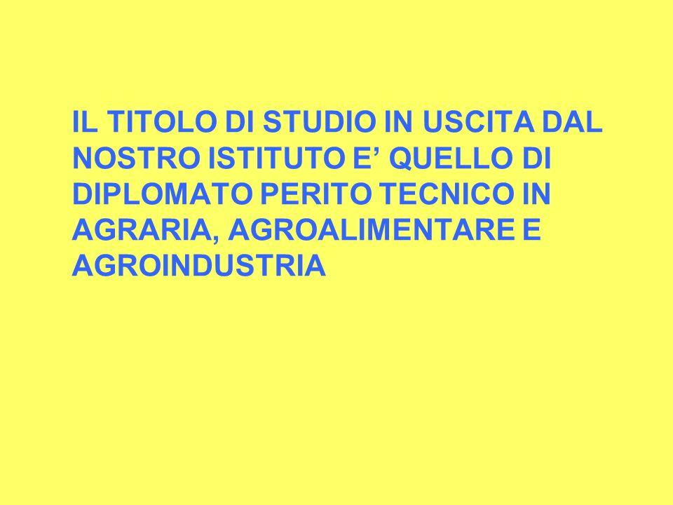 IL TITOLO DI STUDIO IN USCITA DAL NOSTRO ISTITUTO E' QUELLO DI DIPLOMATO PERITO TECNICO IN AGRARIA, AGROALIMENTARE E AGROINDUSTRIA