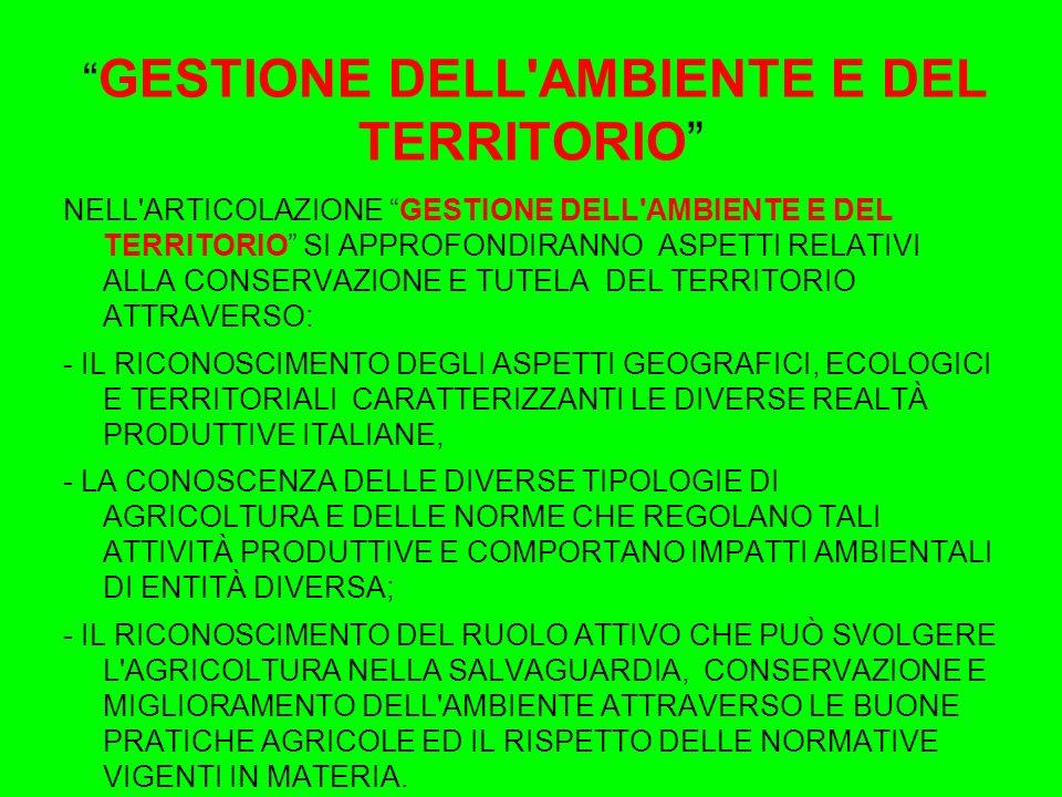 GESTIONE DELL AMBIENTE E DEL TERRITORIO