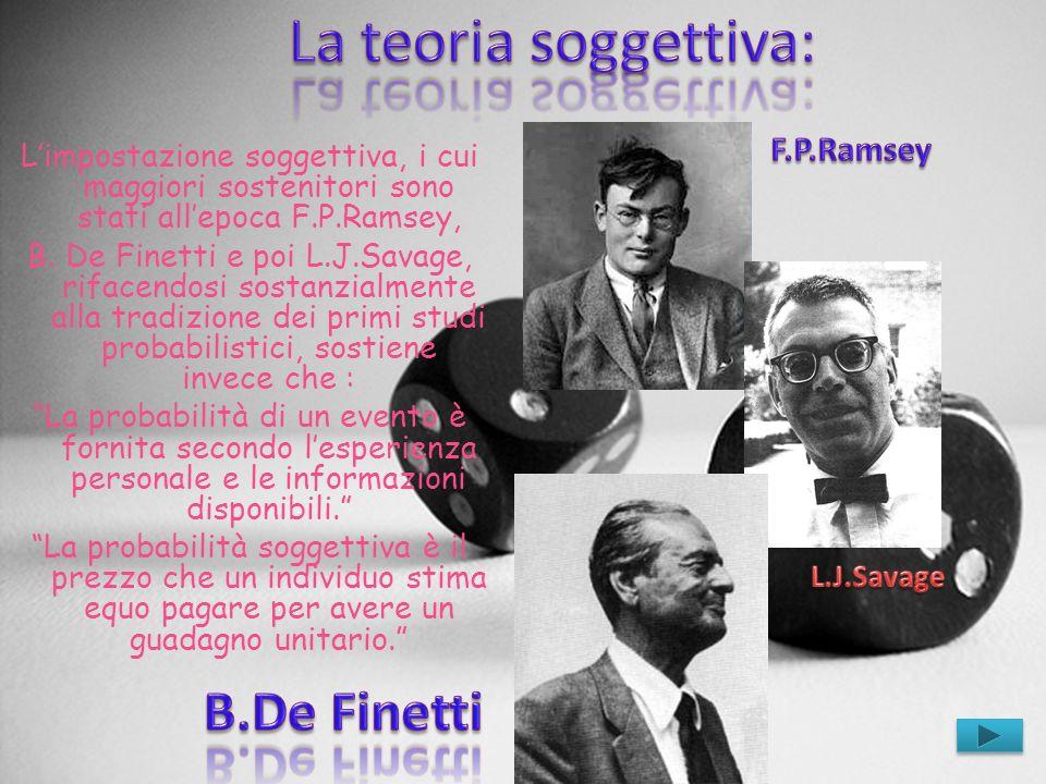 La teoria soggettiva: B.De Finetti F.P.Ramsey