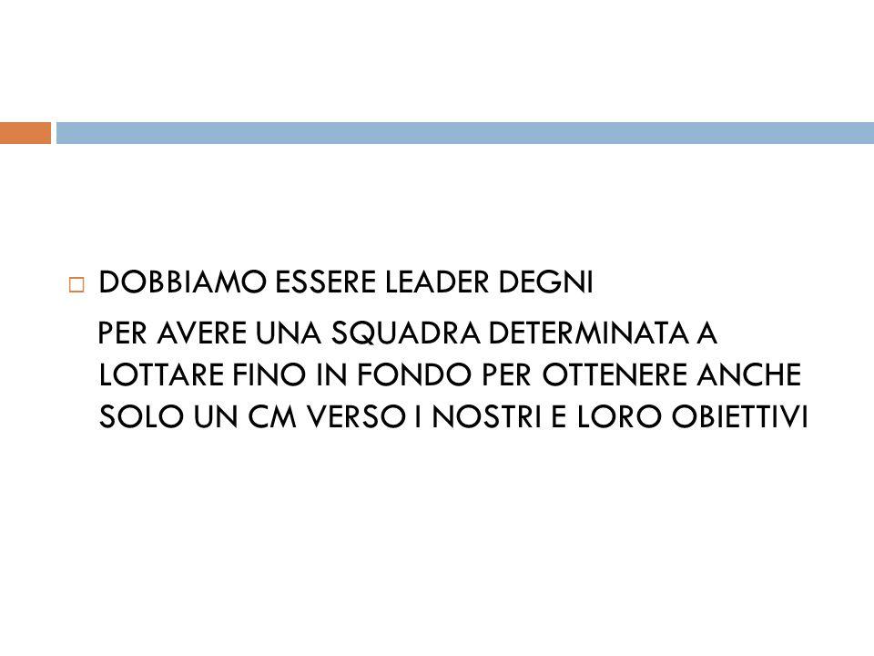 DOBBIAMO ESSERE LEADER DEGNI