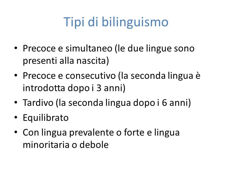 Tipi di bilinguismo Precoce e simultaneo (le due lingue sono presenti alla nascita)