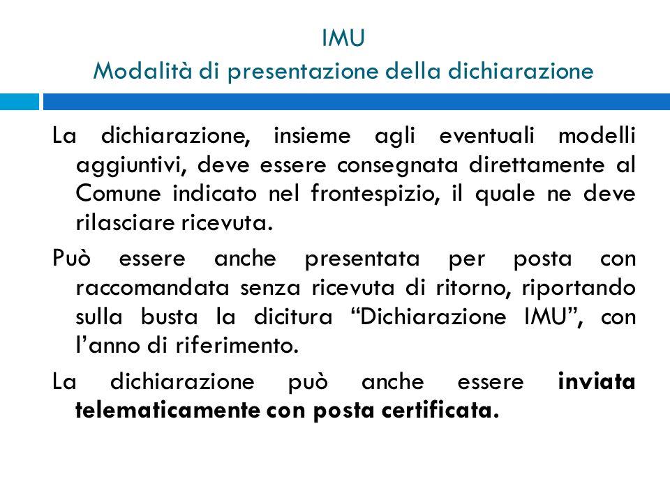IMU Modalità di presentazione della dichiarazione