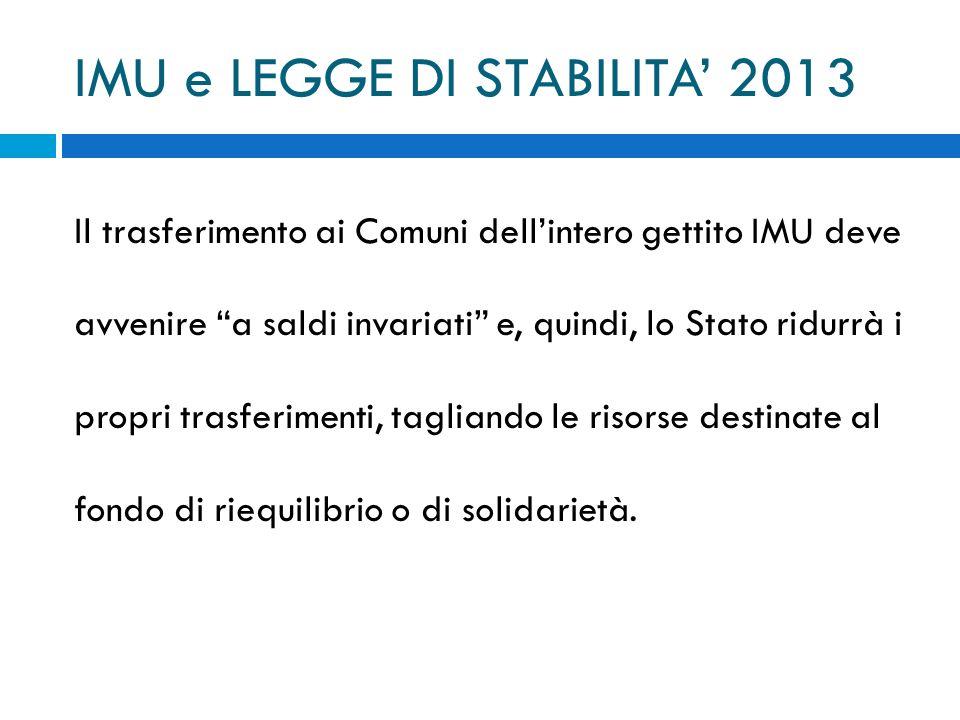 IMU e LEGGE DI STABILITA' 2013