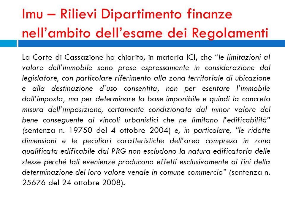 Imu – Rilievi Dipartimento finanze nell'ambito dell'esame dei Regolamenti