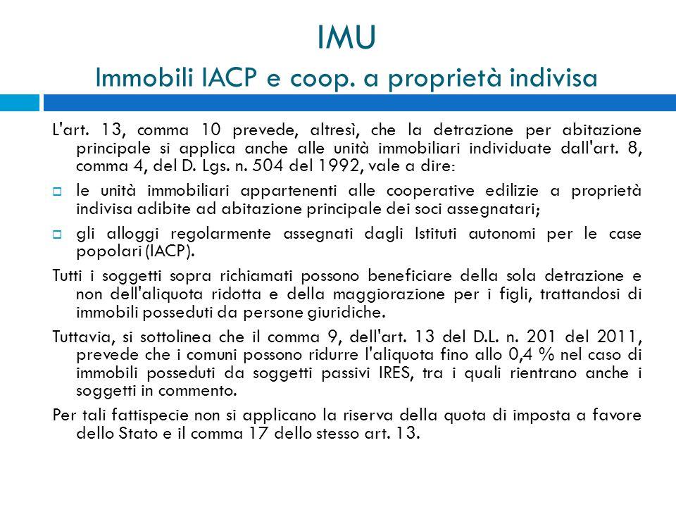 IMU Immobili IACP e coop. a proprietà indivisa